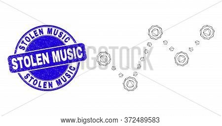 Web Mesh Dotted Trend Chart Icon And Stolen Music Seal. Blue Vector Rounded Grunge Stamp With Stolen