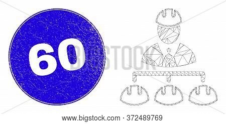 Web Carcass Engineer Hierarchy Icon And 60 Seal Stamp. Blue Vector Rounded Distress Seal Stamp With