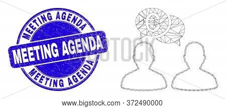 Web Carcass Euro People Chat Icon And Meeting Agenda Seal Stamp. Blue Vector Round Distress Seal Sta