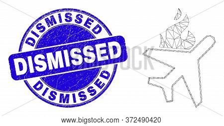 Web Carcass Fired Airplane Icon And Dismissed Seal Stamp. Blue Vector Round Textured Stamp With Dism