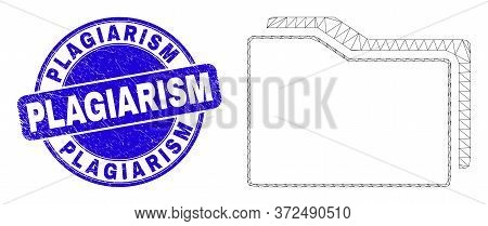 Web Mesh Folders Icon And Plagiarism Seal Stamp. Blue Vector Rounded Grunge Seal Stamp With Plagiari