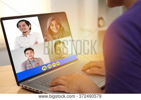 Teleconference During Work From Home Due To Coronavirus Covid Pandemic. Webcam Pc Screen Views Durin