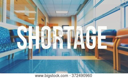 Covid-19 Shortage Theme With A Medical Office Reception Waiting Room Background