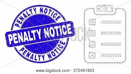 Web Mesh Items Pad Pictogram And Penalty Notice Seal Stamp. Blue Vector Round Textured Seal With Pen