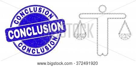 Web Mesh Judge Pictogram And Conclusion Watermark. Blue Vector Rounded Grunge Watermark With Conclus