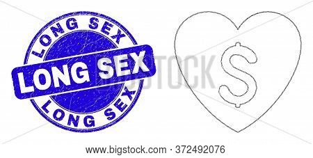 Web Carcass Love Price Icon And Long Sex Seal Stamp. Blue Vector Round Grunge Seal Stamp With Long S