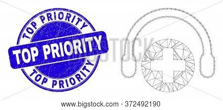 Web Carcass Medical Assistance Headphones Icon And Top Priority Watermark. Blue Vector Rounded Distr