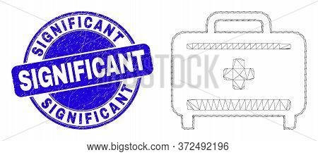 Web Carcass Medical Baggage Pictogram And Significant Seal Stamp. Blue Vector Rounded Scratched Wate