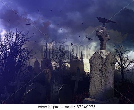 Halloween night scene in a spooky graveyard
