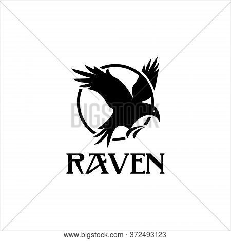 Flying Raven Logo Bird In Circle Vector. Animal Template. Black Bird Icon Design Inspiration