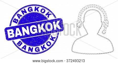 Web Carcass Radio Operator Icon And Bangkok Seal Stamp. Blue Vector Round Scratched Seal With Bangko