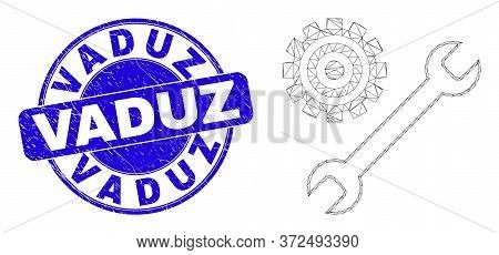 Web Carcass Repair Tools Pictogram And Vaduz Seal Stamp. Blue Vector Round Scratched Watermark With