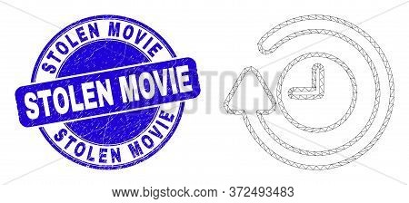 Web Carcass Rotate Clockwise Icon And Stolen Movie Seal Stamp. Blue Vector Rounded Textured Seal Sta