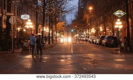 Amazing Gastown In Vancouver - Beautiful Evening View - City Of Vancouver, Canada - April 11, 2017