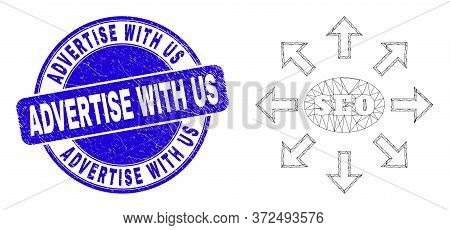 Web Mesh Seo Distribution Arrows Pictogram And Advertise With Us Watermark. Blue Vector Round Scratc