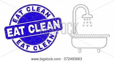Web Mesh Shower Bath Pictogram And Eat Clean Seal Stamp. Blue Vector Round Textured Seal Stamp With