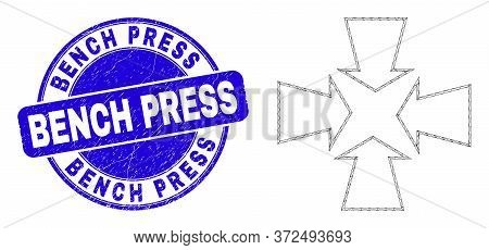 Web Mesh Shrink Arrows Icon And Bench Press Stamp. Blue Vector Rounded Textured Seal Stamp With Benc