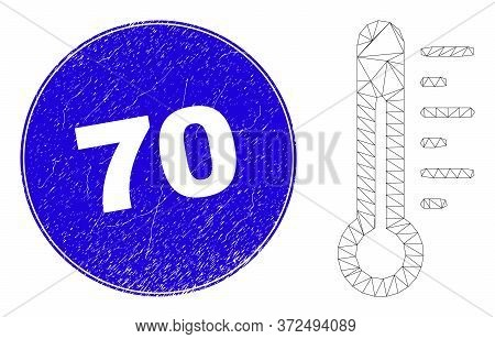 Web Carcass Thermometer Pictogram And 70 Watermark. Blue Vector Rounded Textured Watermark With 70 C