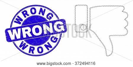Web Carcass Thumb Down Pictogram And Wrong Seal Stamp. Blue Vector Rounded Distress Seal Stamp With