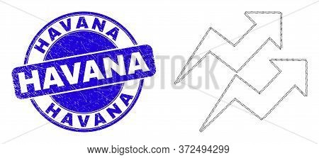 Web Mesh Trend Arrows Icon And Havana Seal Stamp. Blue Vector Rounded Textured Seal With Havana Text