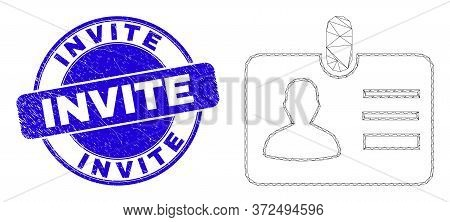 Web Mesh User Id Badge Icon And Invite Watermark. Blue Vector Rounded Textured Seal Stamp With Invit