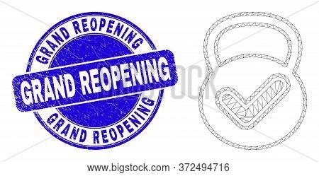 Web Carcass Valid Weight Icon And Grand Reopening Watermark. Blue Vector Rounded Textured Watermark