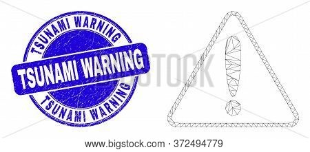 Web Mesh Warning Pictogram And Tsunami Warning Seal Stamp. Blue Vector Round Scratched Seal Stamp Wi