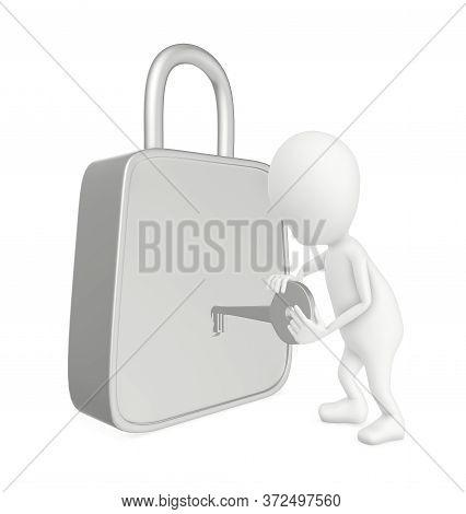 3d White Character Unlocking A Lock , Unlocking , Locking - 3d Rendering- 3d Rendering
