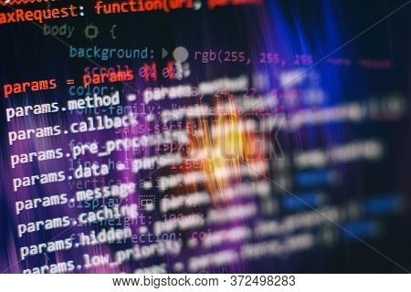 Closeup Developing Programming And Coding Technologies. Developer Working On Web Sites Codes In Offi