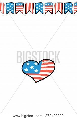 Usa Independence Day Postcard. American Flag Ribbon Heart Vertical Card. 4 July Greeting Card. Ameri