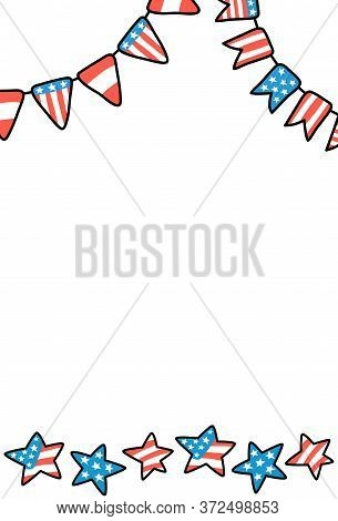 Usa Independence Day Postcard. American Flagribbon Banner With Text Place. 4 July Greeting Card. Ame