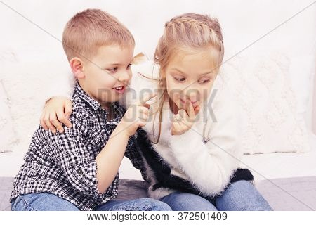 People, Happiness, Friendly Family, Children, Family Value Concept. Brother And Sister Playing. Boy