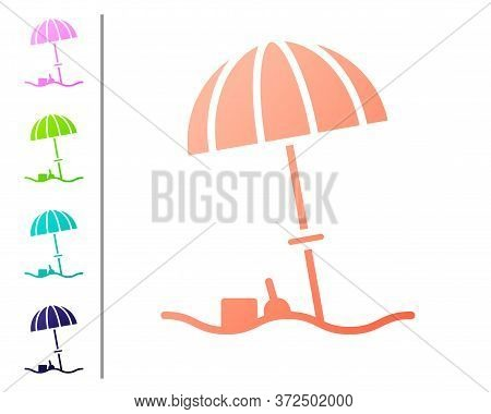 Coral Sun Protective Umbrella For Beach Icon Isolated On White Background. Large Parasol For Outdoor