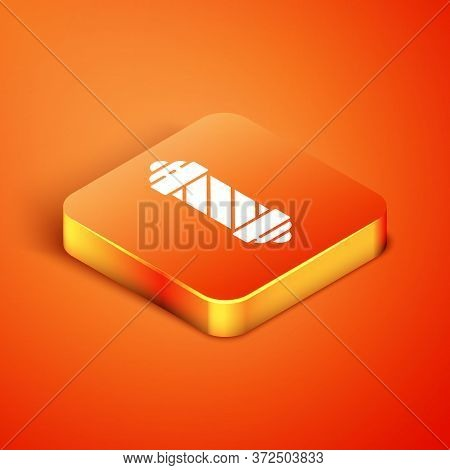 Isometric Classic Barber Shop Pole Icon Isolated On Orange Background. Barbershop Pole Symbol. Vecto