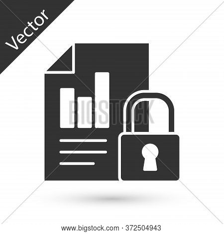 Grey Document And Lock Icon Isolated On White Background. File Format And Padlock. Security, Safety,