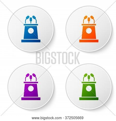 Color Stage Stand Or Debate Podium Rostrum Icon Isolated On White Background. Conference Speech Trib