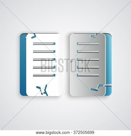 Paper Cut The Commandments Icon Isolated On Grey Background. Gods Law Concept. Paper Art Style. Vect