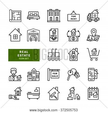 Real Estate Related Simple Vector Line Icons. Included The Icons As Map, Realty, Bedrooms, Property,