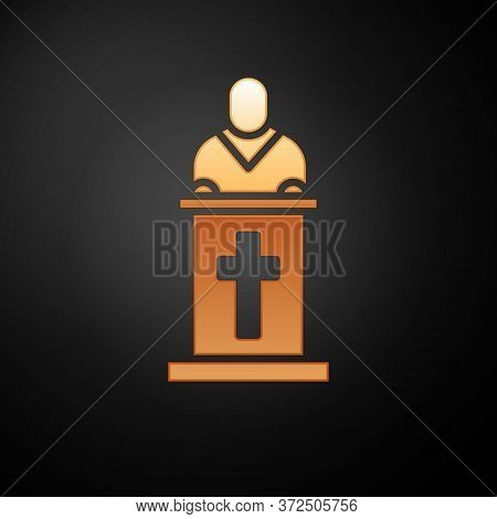 Gold Church Pastor Preaching Icon Isolated On Black Background. Vector Illustration
