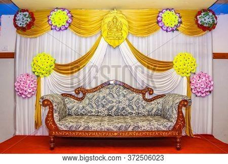 Wedding Stage Photography. Beautiful Decoration Wedding Ceremony. Yellow Themed Indian Wedding Stage