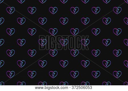 Seamless Pattern With Neon Heart With Intersexuality Symbol On Black Background