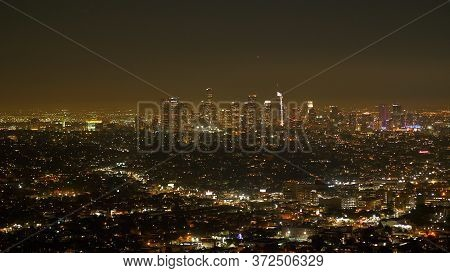 Los Angeles By Night - Aerial View From The Hollywood Hills - Travel Photography