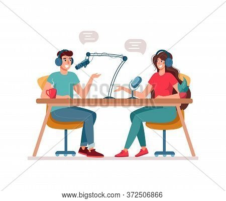 Concept Of Podcasting, Radio Station, Interview. Man And Woman Are Djs On The Radio. Podcast Present