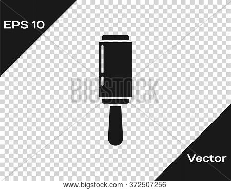 Black Adhesive Roller For Cleaning Clothes Icon Isolated On Transparent Background. Getting Rid Of D
