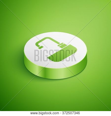Isometric Washbasin With Water Tap Icon Isolated On Green Background. White Circle Button. Vector Il