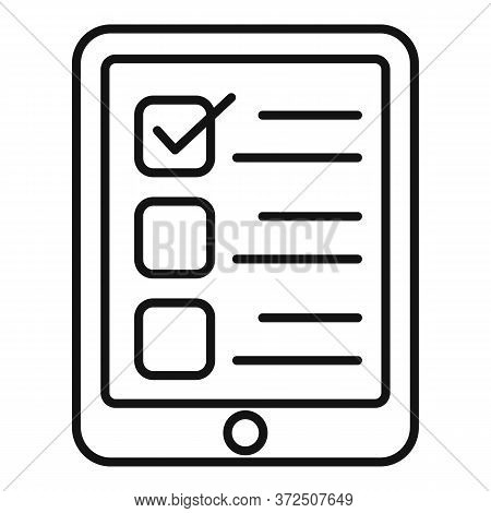 Online Questionnaire Icon. Outline Online Questionnaire Vector Icon For Web Design Isolated On White