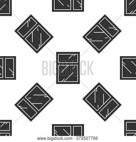 Grey Cleaning Service For Windows Icon Isolated Seamless Pattern On White Background. Squeegee, Scra