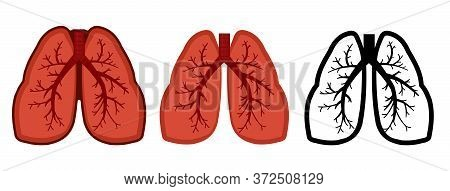 Healthy Lungs, Bronchus And Human Trachea. Whole. Set. Color Image And Monochrome Icon. A Series Of