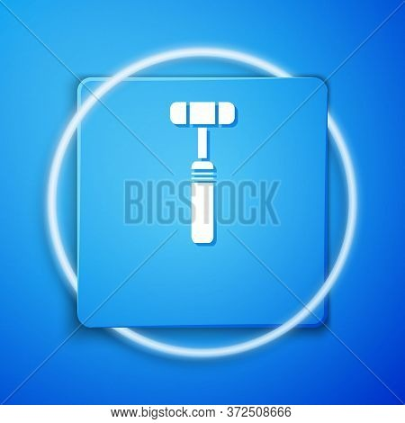 White Neurology Reflex Hammer Icon Isolated On Blue Background. Blue Square Button. Vector Illustrat