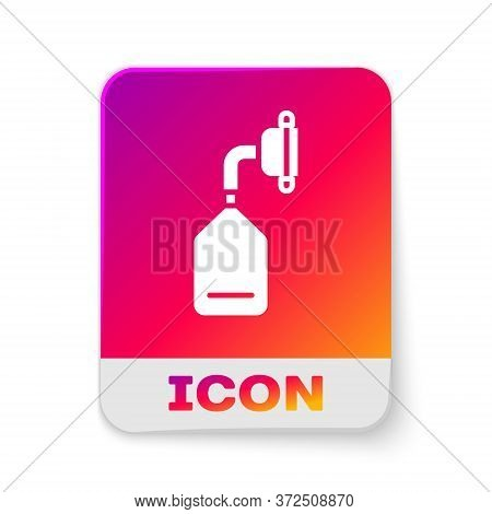 White Medical Oxygen Mask Icon Isolated On White Background. Rectangle Color Button. Vector Illustra